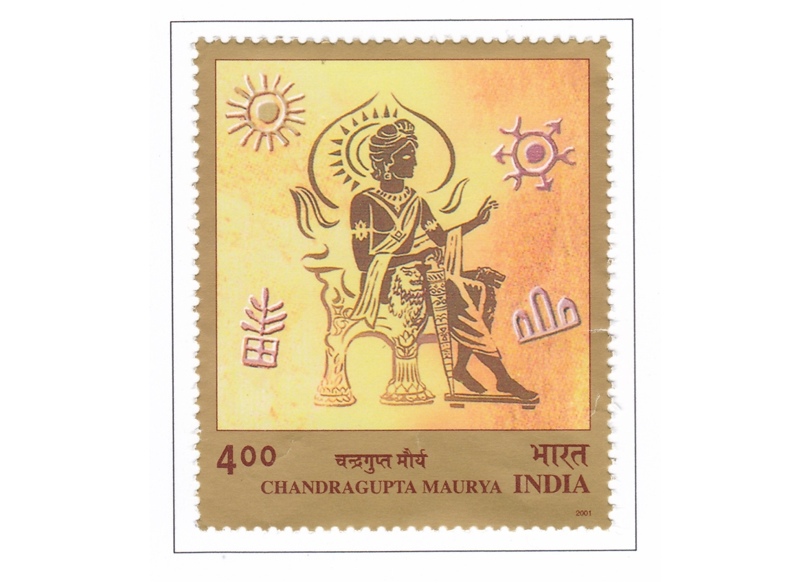 Postage stamp issued in honour of Chandragupta Maurya in 2001