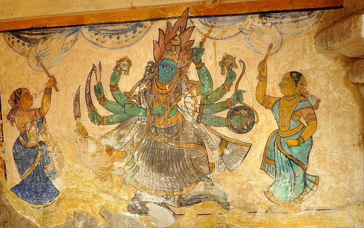 One of the paintings at the temple