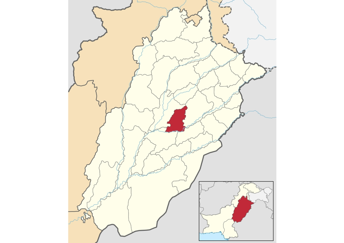 Location of Toba Tek Singh District in the center of Punjab, Pakistan
