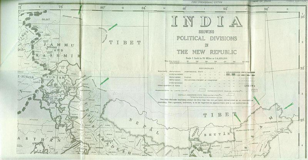 Map of Republic of India in 1947 showing Ladakh border as undemarcated