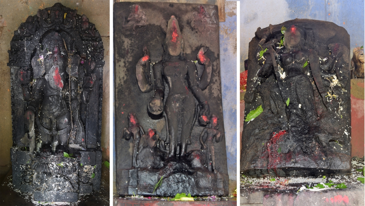 L to R - Ganesha, Singha Bahini and Ranachandi idols