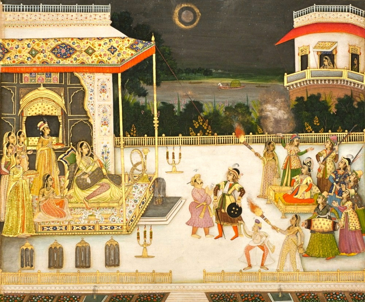 Miniature painting showing Udham Bai (Qudsia Begum) being entertained with fireworks and dance (1742 CE by Mir Miran)