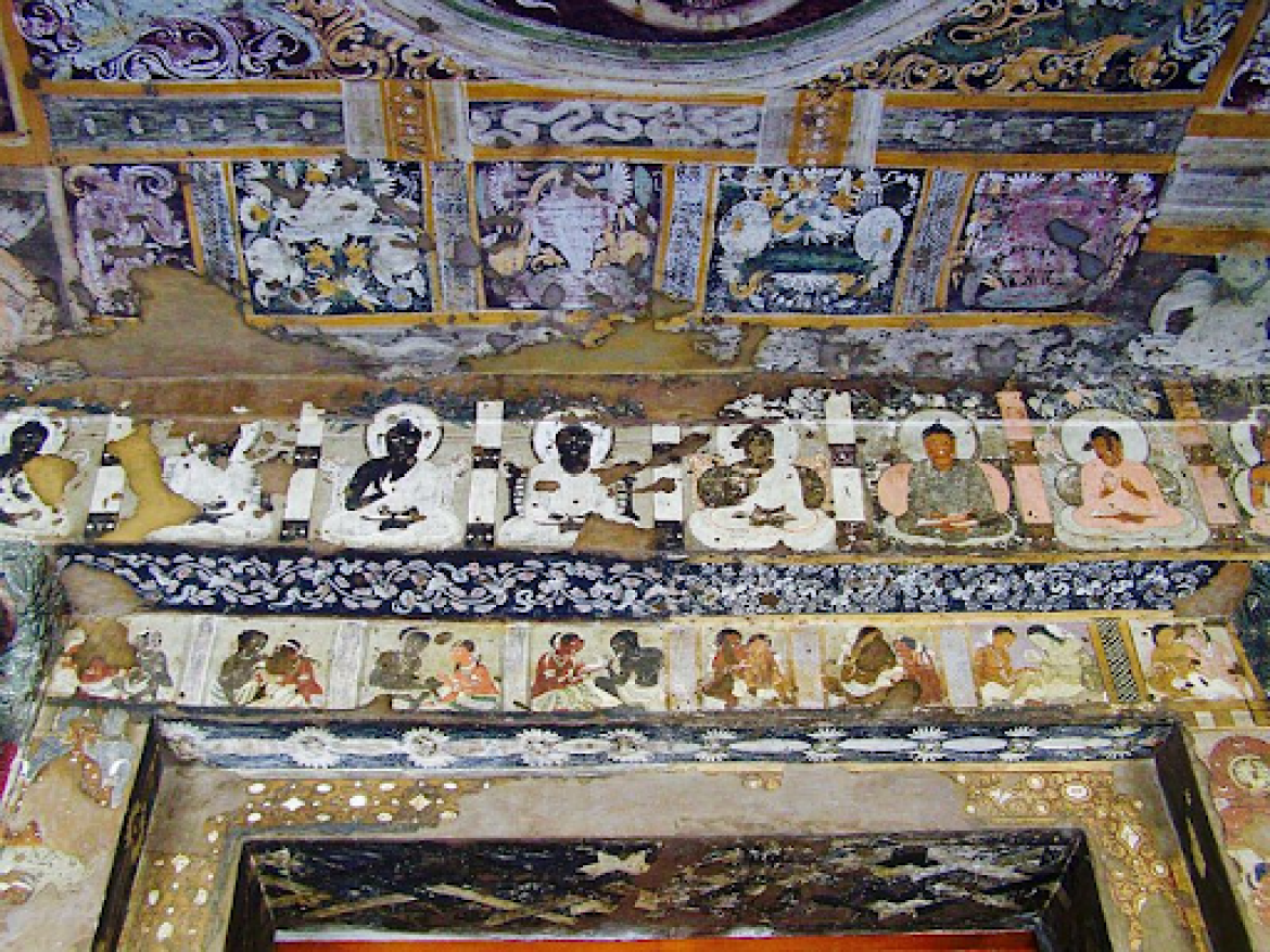 Murals on the lintel at Ajanta Cave 17