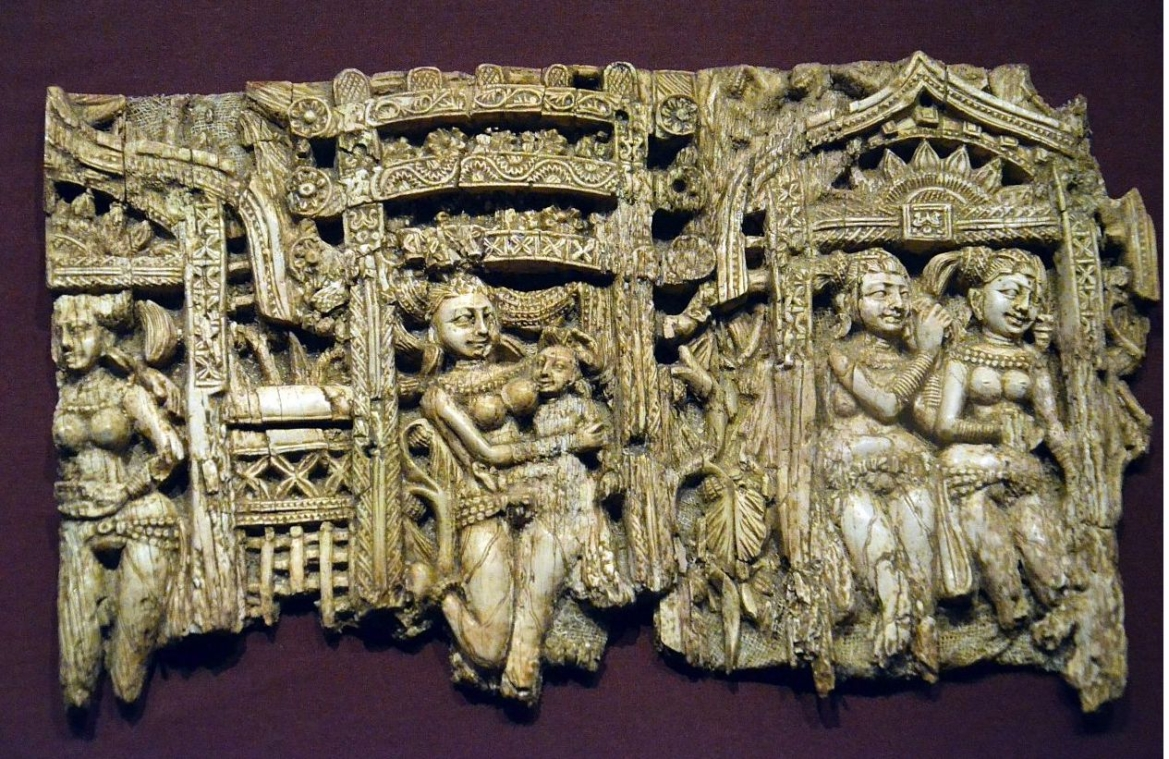 Bagram decorative plaque from a chair or throne, ivory, c.100 BCE