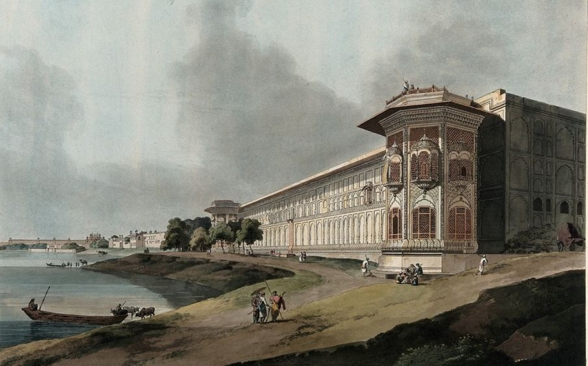 The Qudsia Bagh, Delhi: eastern view. Coloured aquatint by Thomas Daniell, 1795