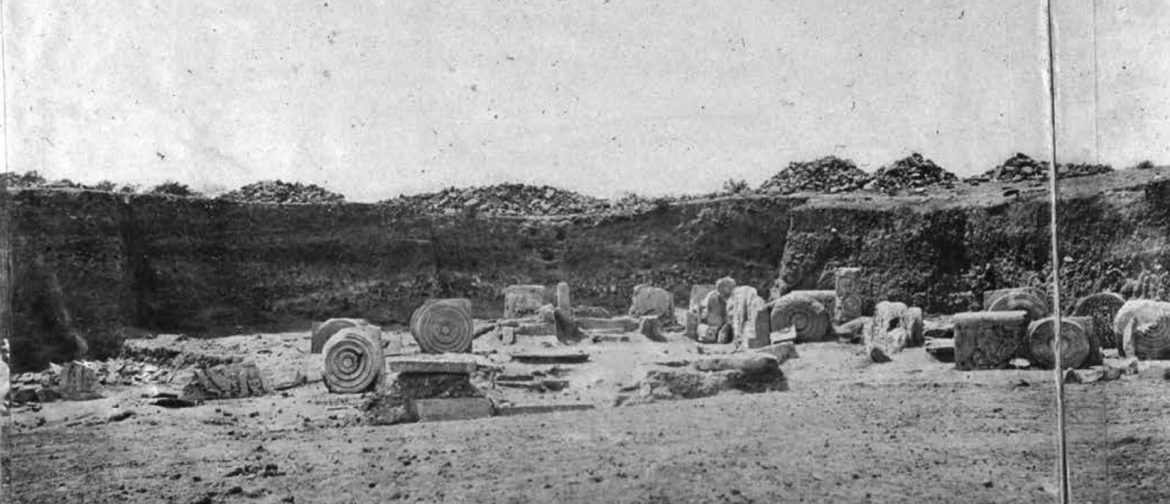 Excavation of the south gate of the Amaravati stupa by J G Horsfall in 1880