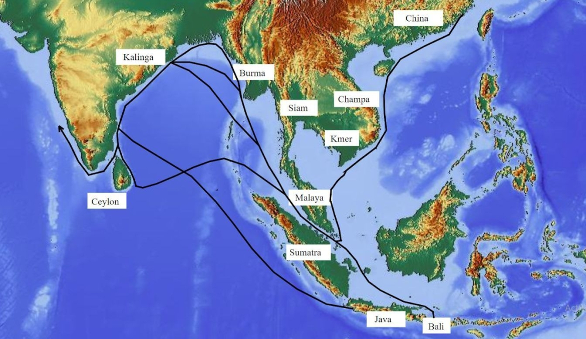 Map showing sea routes between Kalinga and trading partners