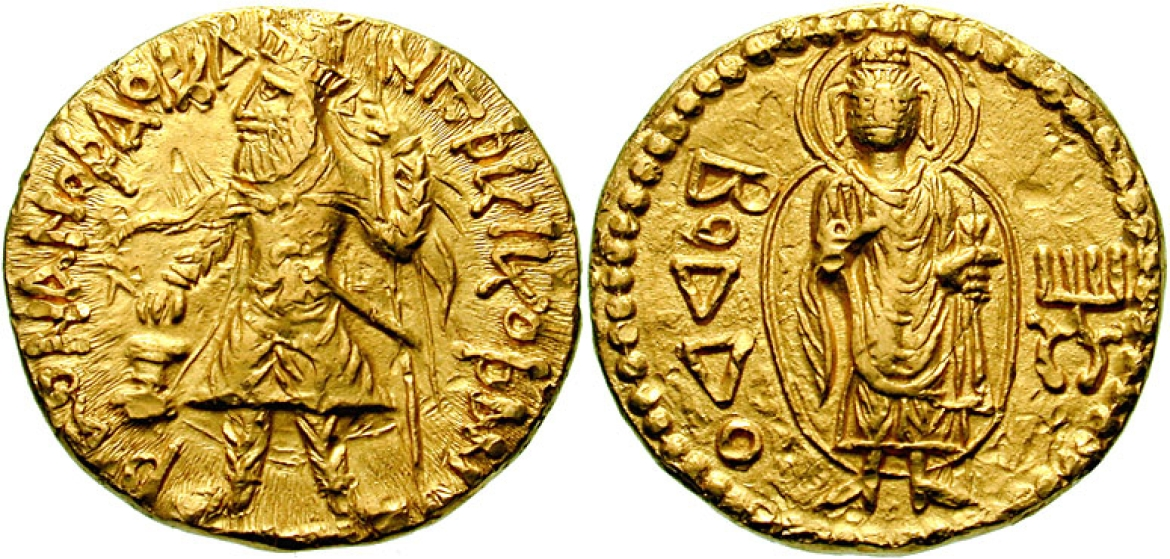 Gold coin of Kanishka with a representation of the Buddha (c.120 CE)