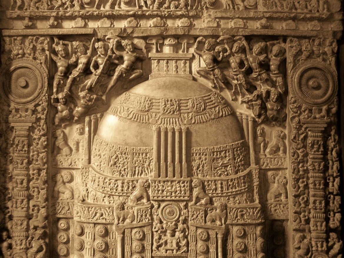 Relief from the side of the Amaravati stupa, now at the Government Museum in Chennai