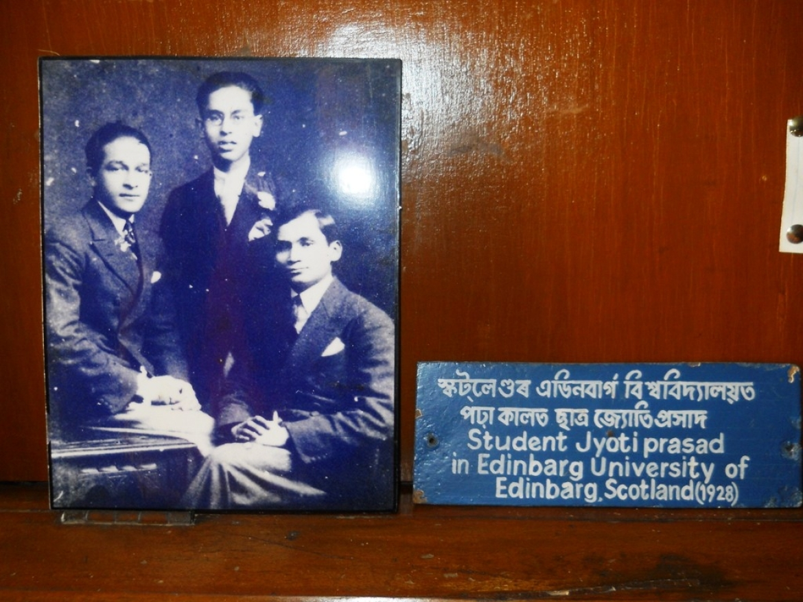 A young Jyoti Prasad, sitting on the right