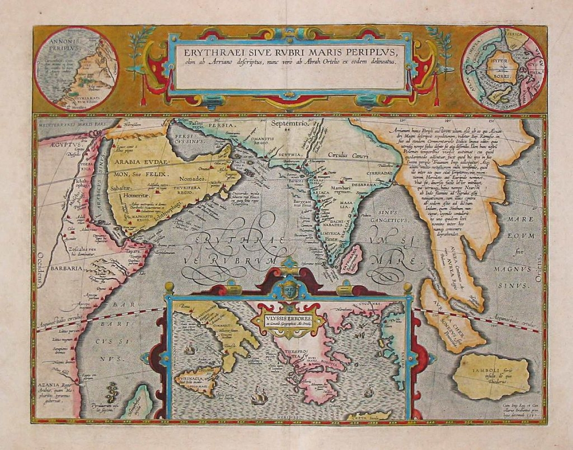 A 1597 map depicting the locations of the <i>Periplus of the Erythraean Sea</i>