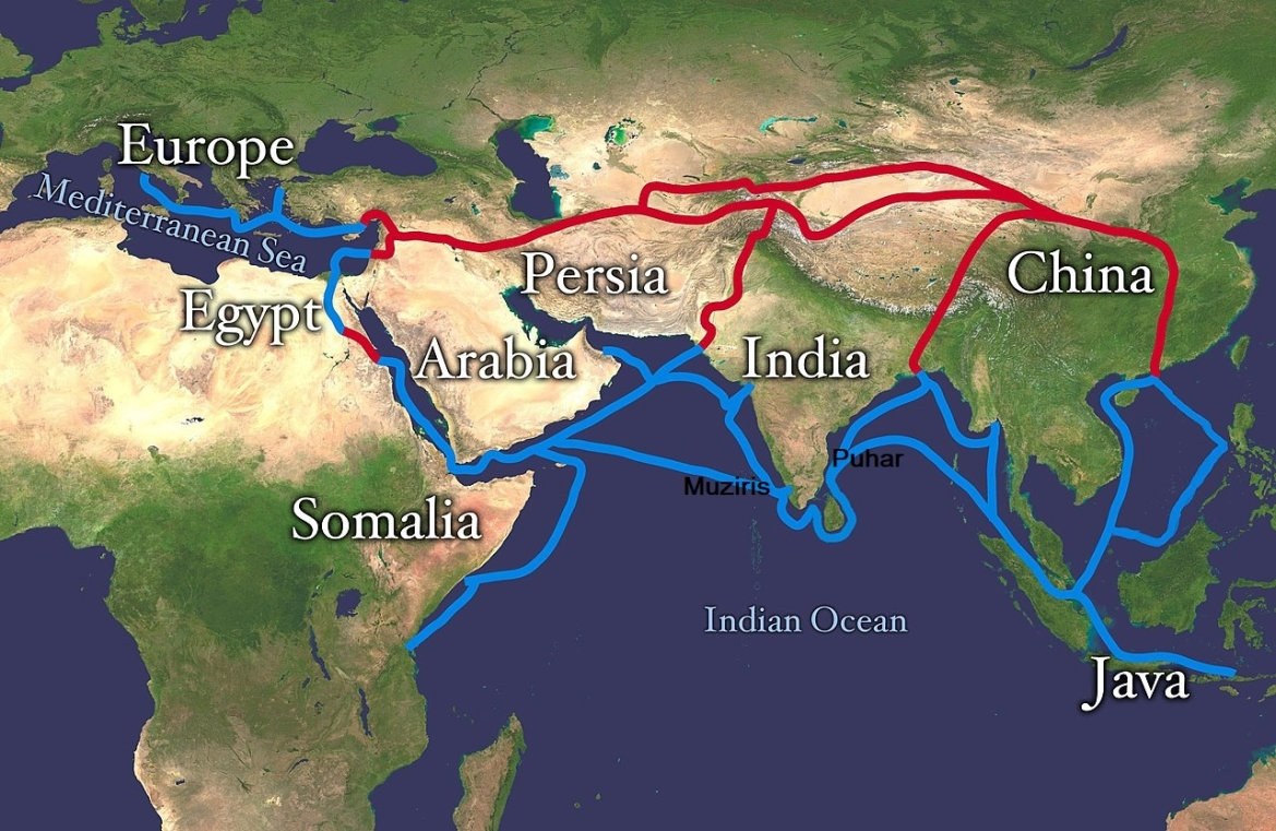 Map showing ancient India trade routes
