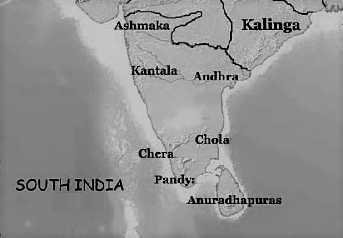 Regions of influence of the Early Chera, Chola and Pandya Kingdoms