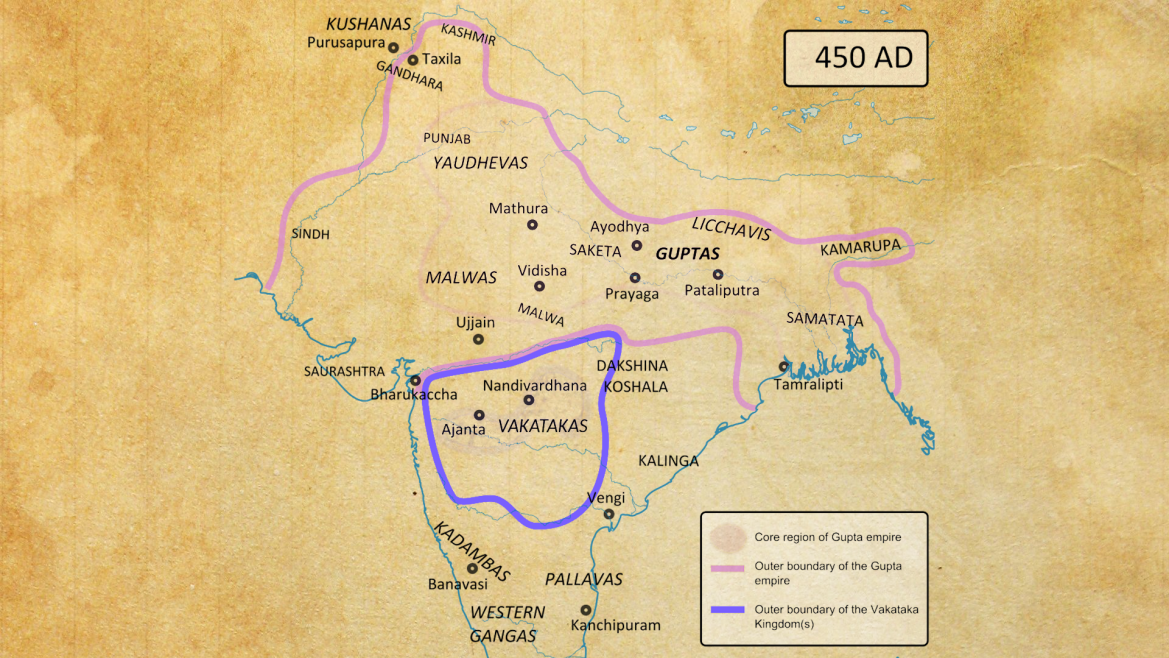 Extent of the Gupta Empire in mid-5th century CE