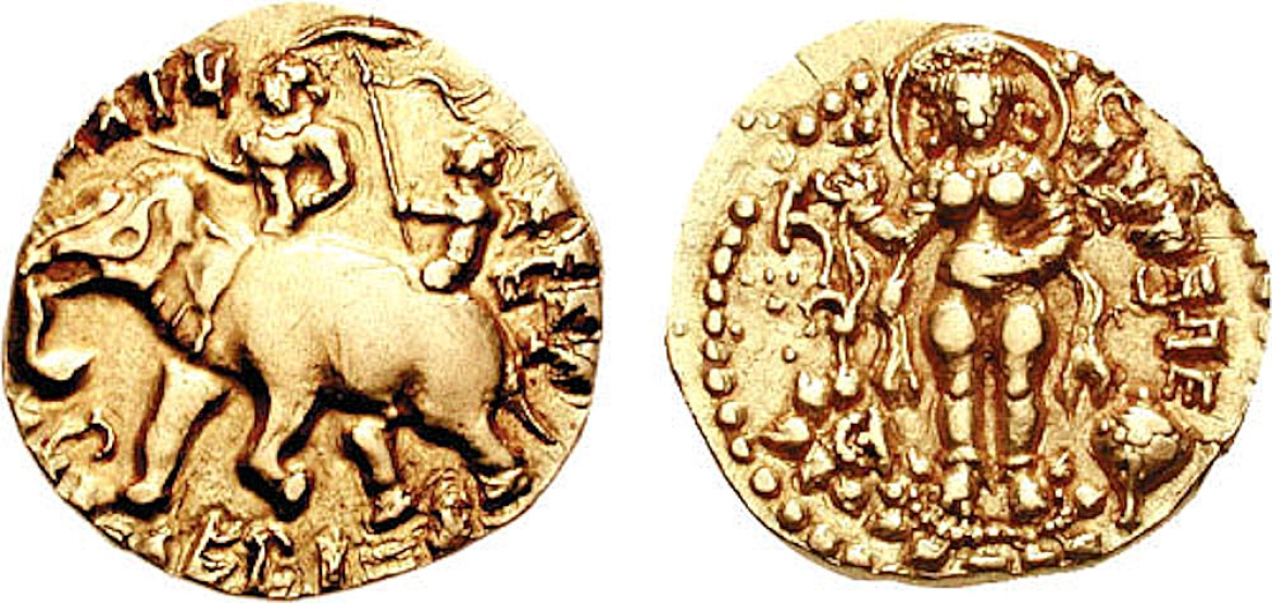 "Elephant-rider coin of Kumara Gupta. Obverse legend: ""Kumara Gupta, who has destroyed his enemies and protected his client kings, is victorious over his foes"""