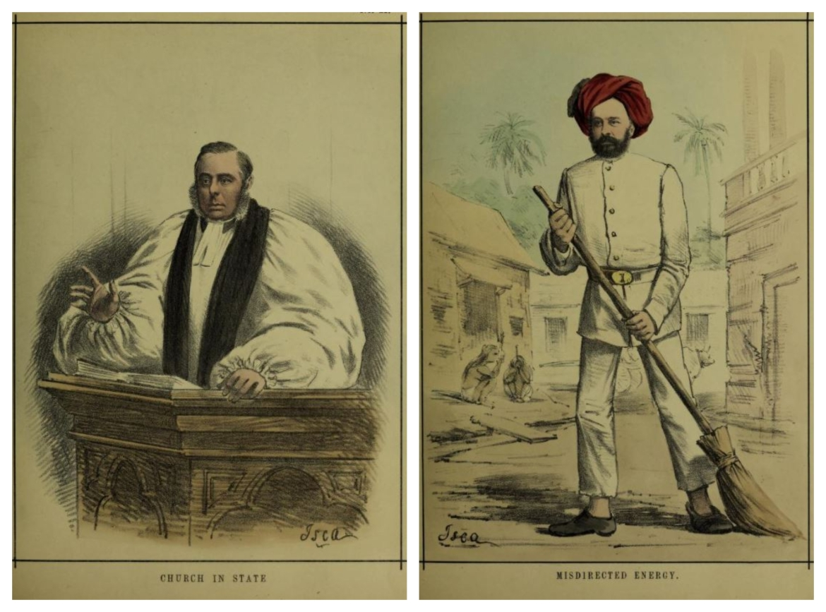 Caricatures of Reverend Robert Milman (Bishop of Calcutta) and Stuart S. Hogg (chairman of the Calcutta municipality)