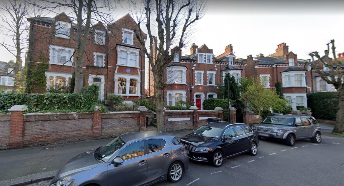 India House (left), Cromwell Avenue in suburban London