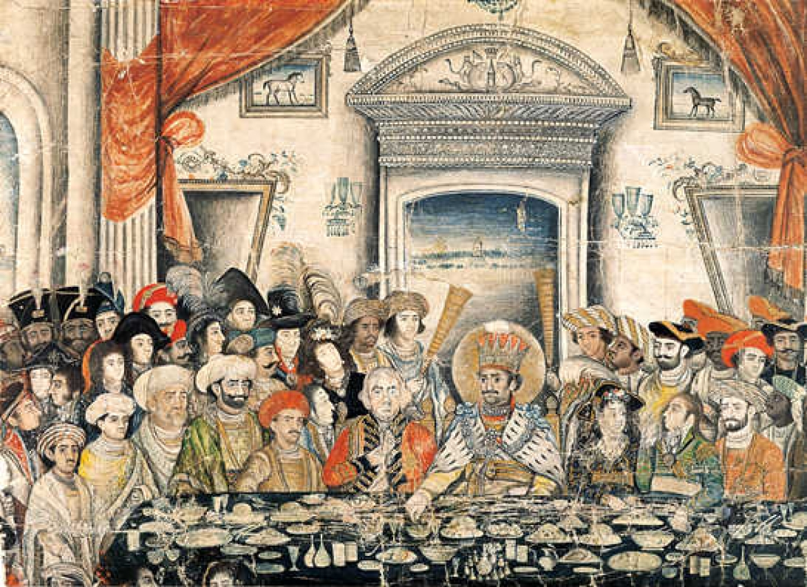 Ghazi ud-Din Haidar, seventh Nawab (1814–27), entertains Lord and Lady Moira to a banquet in his palace Opaque watercolour, 1820–22