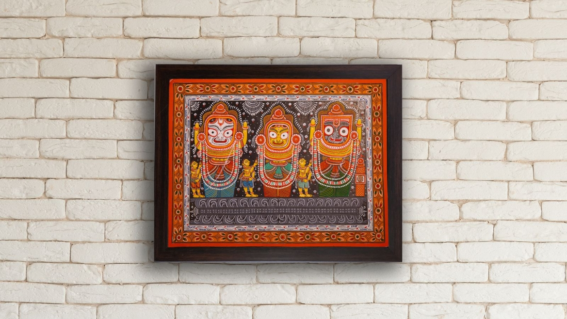Pattachitra paintings of Lord Jagannath, Balabhadra and Subhadra