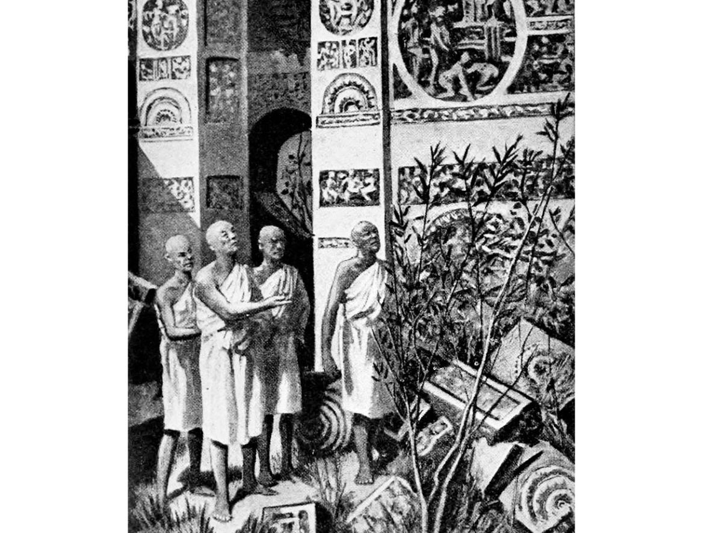 Fa Hien at the ruins of Ashoka's Palace, Pataliputra