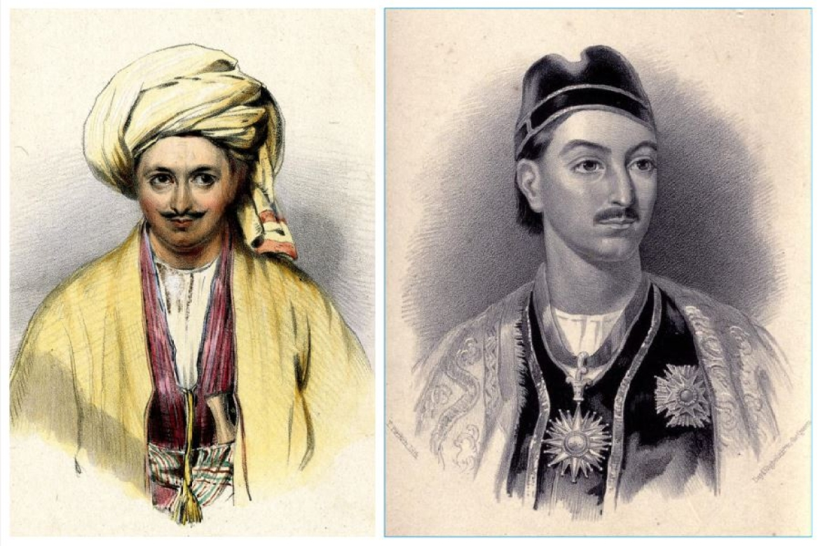 Alexander Burnes in disguise during his travels to Bukhara (left) | Gutenberg.org; Portrait of Mohan Lal Kashmiri (right) | Wikimedia Commons