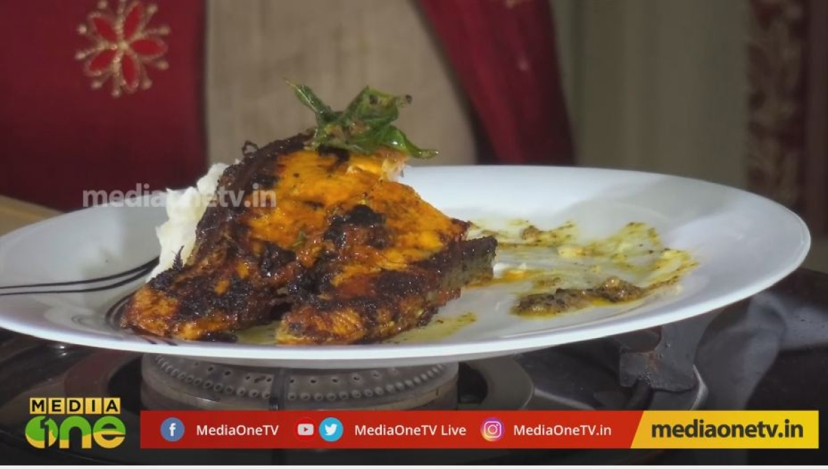 How to make grilled salmon   Raj Kalesh with Blessi and chef Anoop