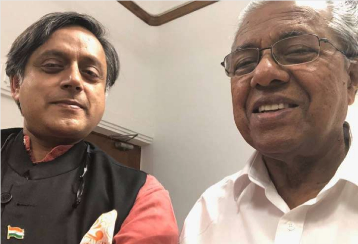 Shashi Tharoor meets CM Vijayan, posts selfie with CM on social media