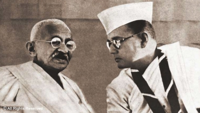 Mahatma Gandhi with Netaji Subhas Chandra Bose