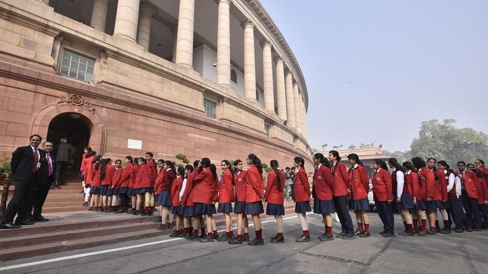 School children visit Parliament House in New Delhi on December 8, 2016