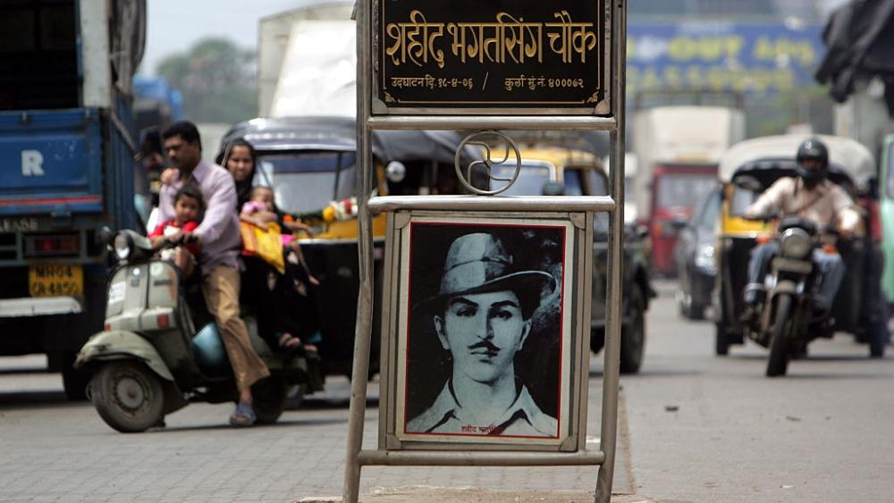 File photo of a tribute to Shaheed Bhagat Singh on Andheri-Kurla Road, Mumbai