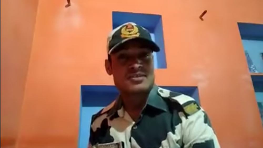 Grab from a video posted by a BSF Jawan in Gujarat on his Facebook page, alleging that BSF officers are selling liquor to civilians
