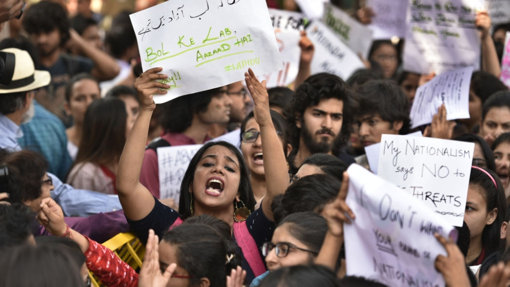 Students protest march against ABVP at Delhi University on February 28, 2017