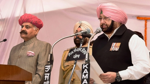 Captain Amarinder Singh takes charge in Punjab