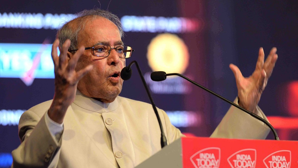 President of India Pranab Mukherjee addressing the India Today Conclave 2017 in Mumbai on March 17