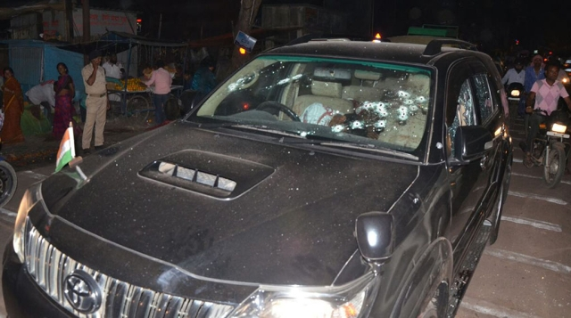 Photo of the SUV that Niraj Singh and his companions were travelling in  on March 21 near Steel Gate in Dhanbad