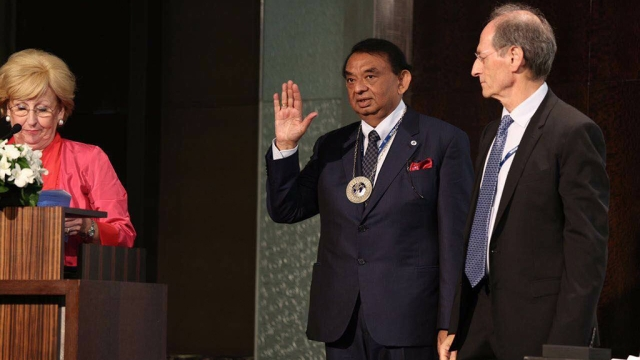 A file photo of tainted former Medical Council of India chief Dr Ketan Desai being sworn in as President of the World Medical Association at a conference in Taiwan in October 2016