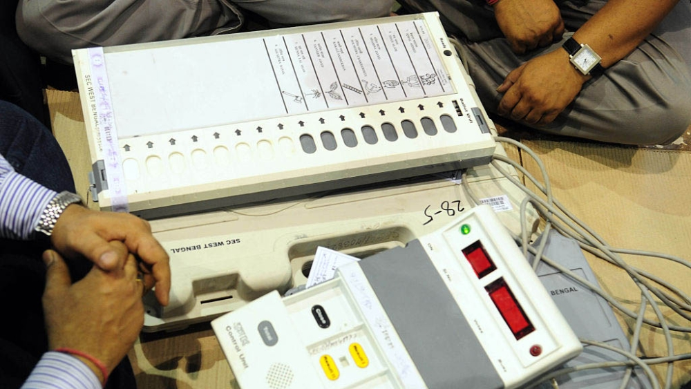 File photo of an electronic voting machine before a municipality election