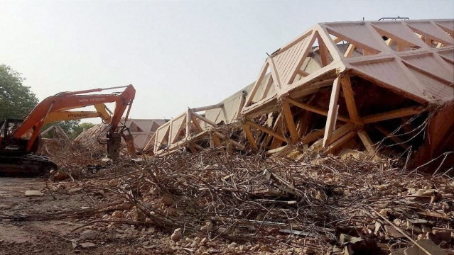 Remains of the iconic Hall of Nations structure at Pragati Maidan in New Delhi on Monday. Authorities  demolished the Hall of Industries and Hall of Nations buildings, constructed in 1972,  on Sunday night, for setting up of a 'world-class' exhibition centre.
