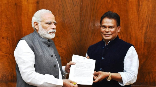 Former Coal Minister Dilip Ray with Prime Minister Narendra Modi