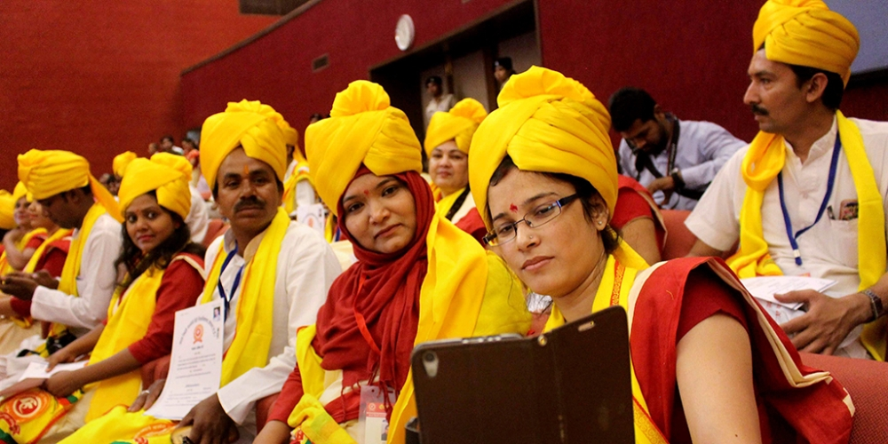 A file photo of students during first convocation ceremony of Atal Bihari Vajpayee Hindi University in Bhopal. The debate around the three-language formula has been recently reinvigorated