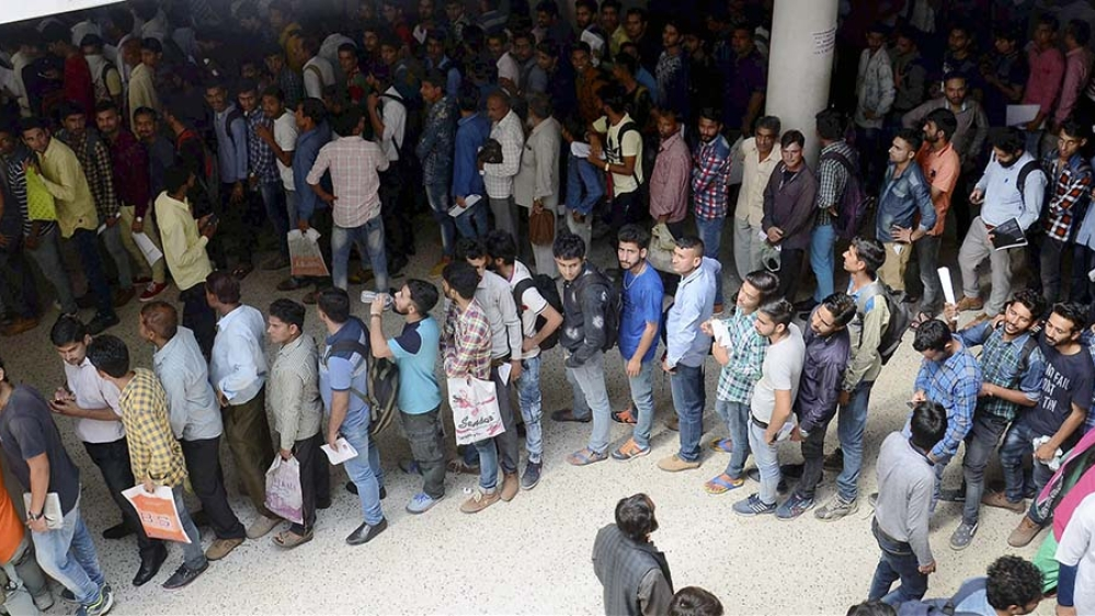 A file photo of students waiting in queues to apply for jobs