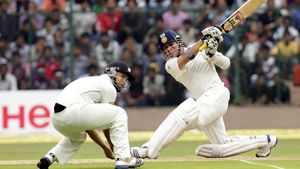 A file photo of Sachin Tendulkar in action  during a test match against New Zealand in Bengaluru in 2012