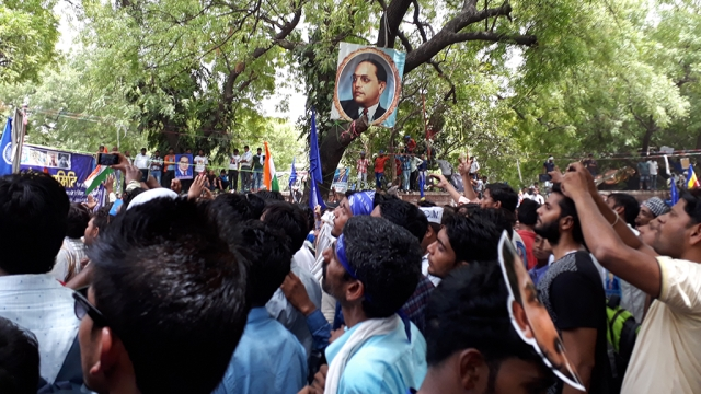 The Dalit community held a big rally at Delhi's Jantar Mantar on Sunday to protest against rising instances of caste violence in Uttar Pradesh