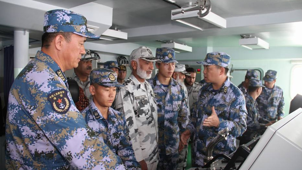 A file photo of Pakistani and Chinese Navy personnel during a joint naval exercise last year