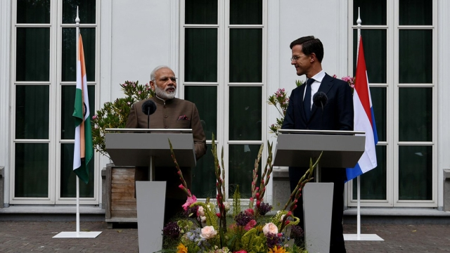 Prime Minister Narendra Modi and Netherlands' Prime Minister Mark Rutte at a joint press briefing during the Indian leader's visit