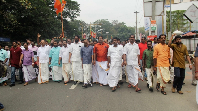 A file photo of BJP's Kerala wing taking out a procession in support of Centre's beef-ban earlier this year