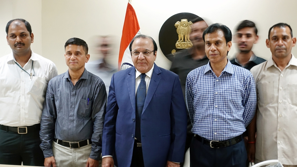 New Chief Election Commissioner Achal Kumar Joti (in the middle) with his staff