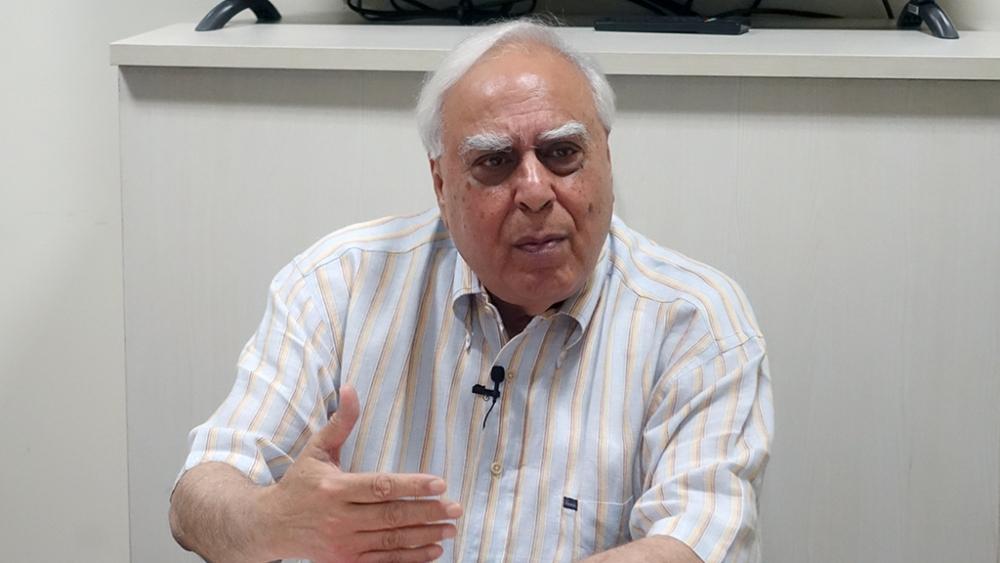 Kapil Sibal at the National Herald office