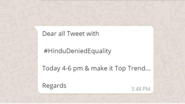 WhatsApp forward from BJP leader Vinit Goenka