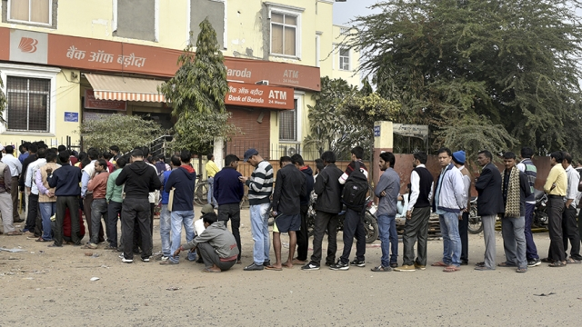 File photo of people waiting in a long queue in front of banks during demonetisation